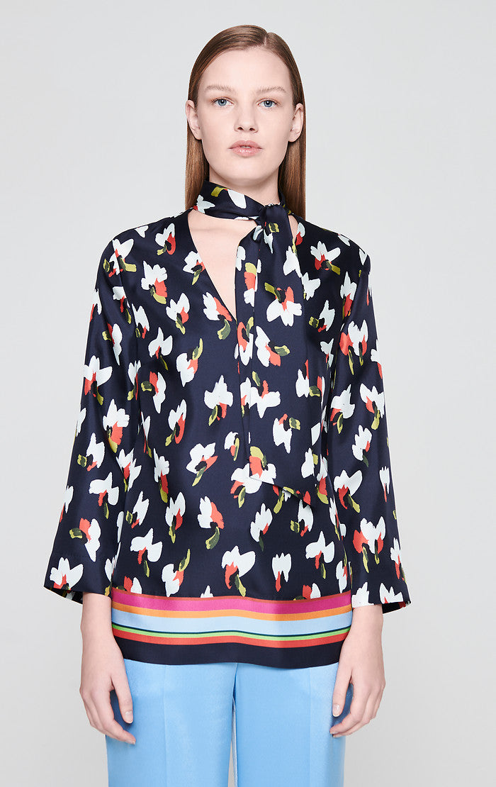 ESCADA Silk Printed Tie-Neck Blouse