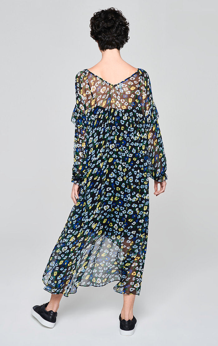 Printed Chiffon Volant Dress - ESCADA