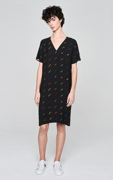 ESCADA Crepe Printed Logo Dress