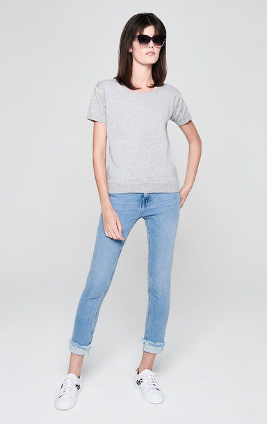 Short-Sleeve Contrast Trim Sweater - ESCADA