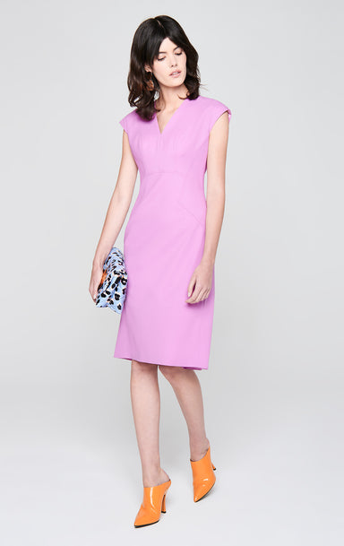 ESCADA Wool Stretch Cap-Sleeve Dress