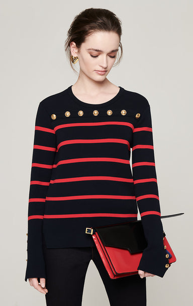 ESCADA Button-Detail Stripe Sweater