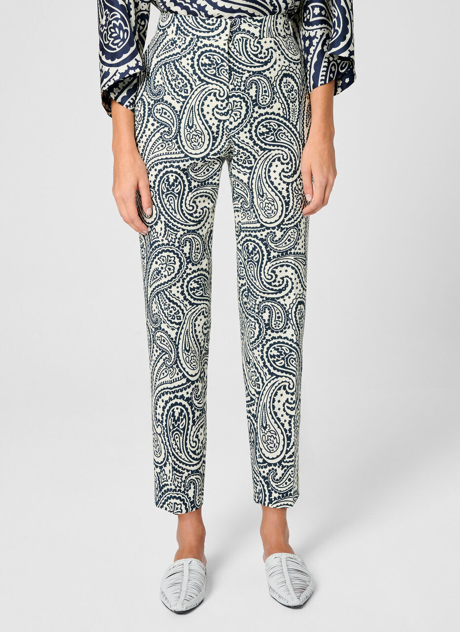 Cotton Stretch Paisley Pants - ESCADA