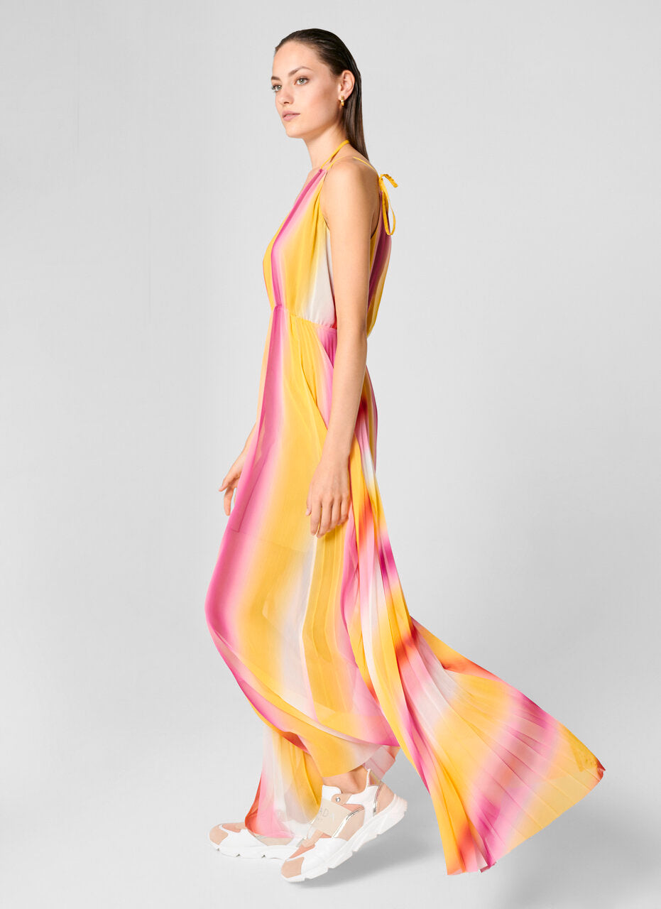 Multicolor Plissé Maxi Dress - ESCADA