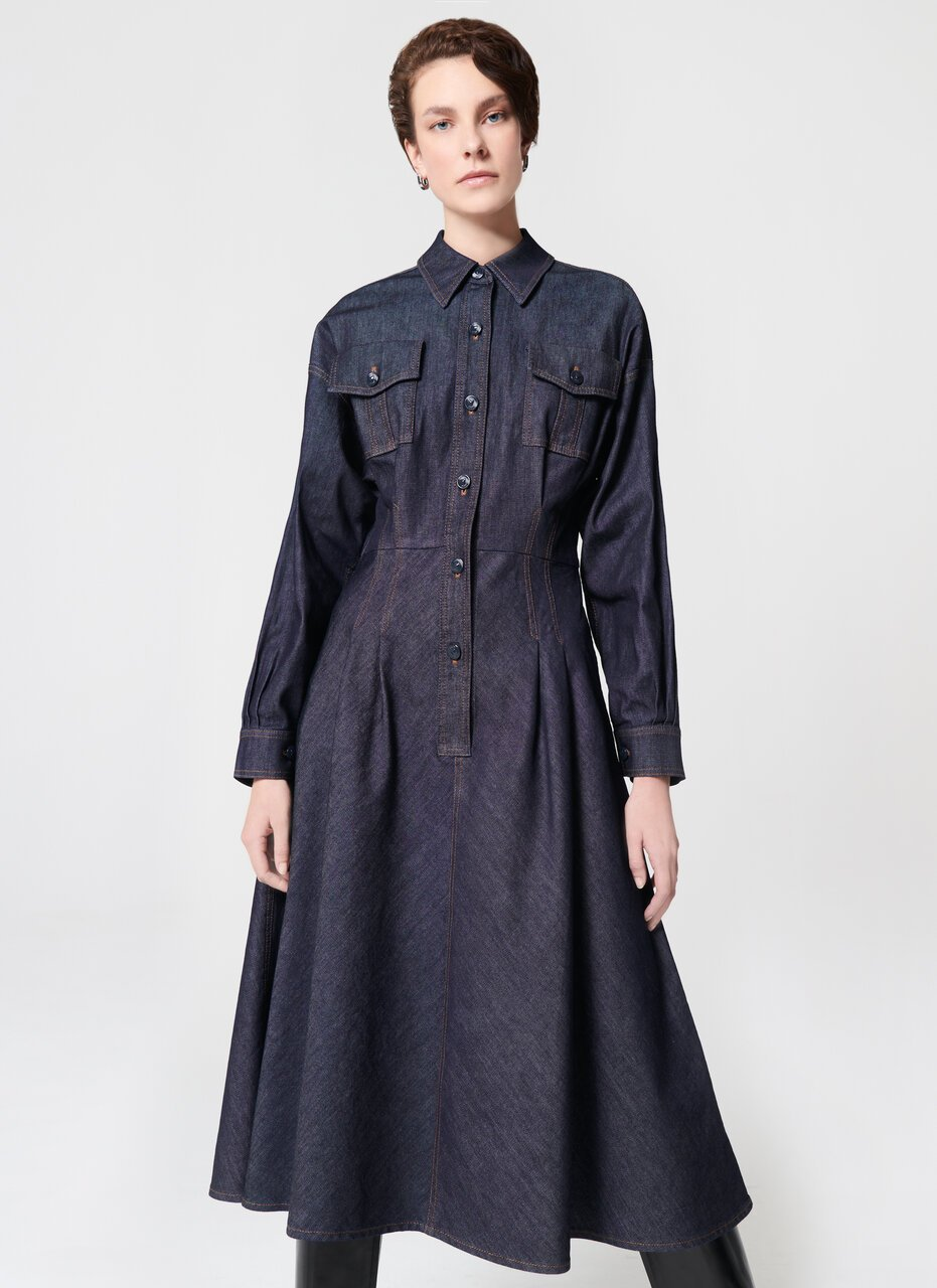 Fashionable Cotton Stretch Denim Dress - ESCADA