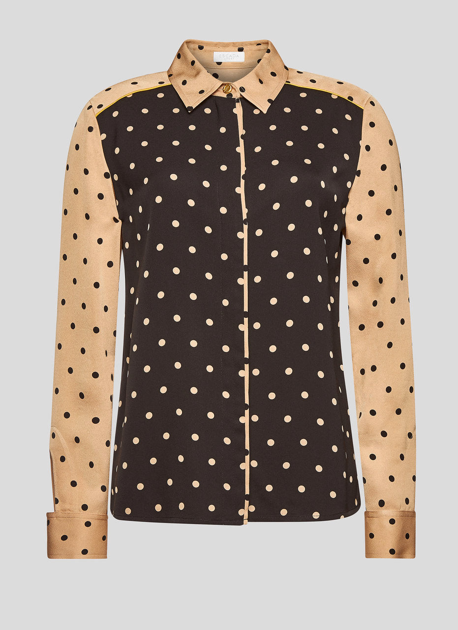 Two-Tone Polka Dot Blouse - ESCADA