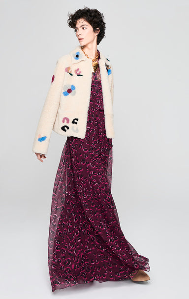 ESCADA Floral Shearling Leather Jacket