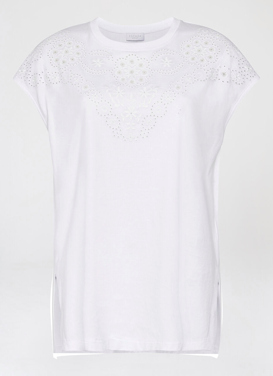 Cotton Broderie T-shirt - ESCADA