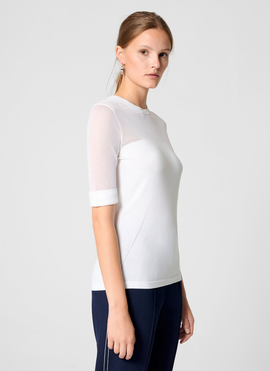 Material Mix Short-Sleeve Sweater