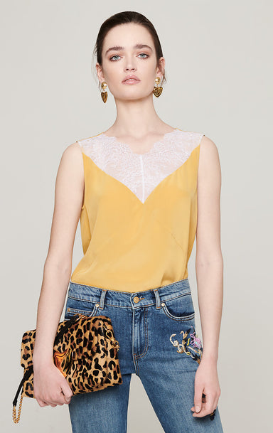 ESCADA Lace-Trimmed Silk Camisole