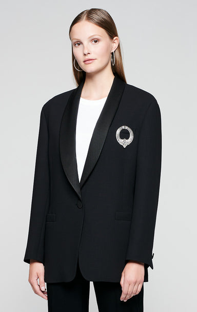 ESCADA Wool Blazer with Crystal Brooch