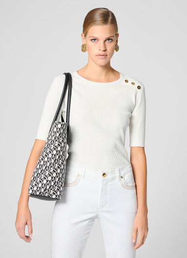 ESCADA Short-Sleeve Button-Detail Sweater