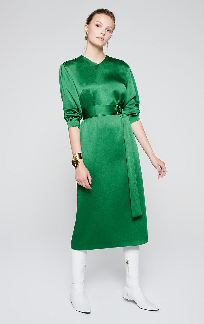 ESCADA Satin Belted Midi Dress