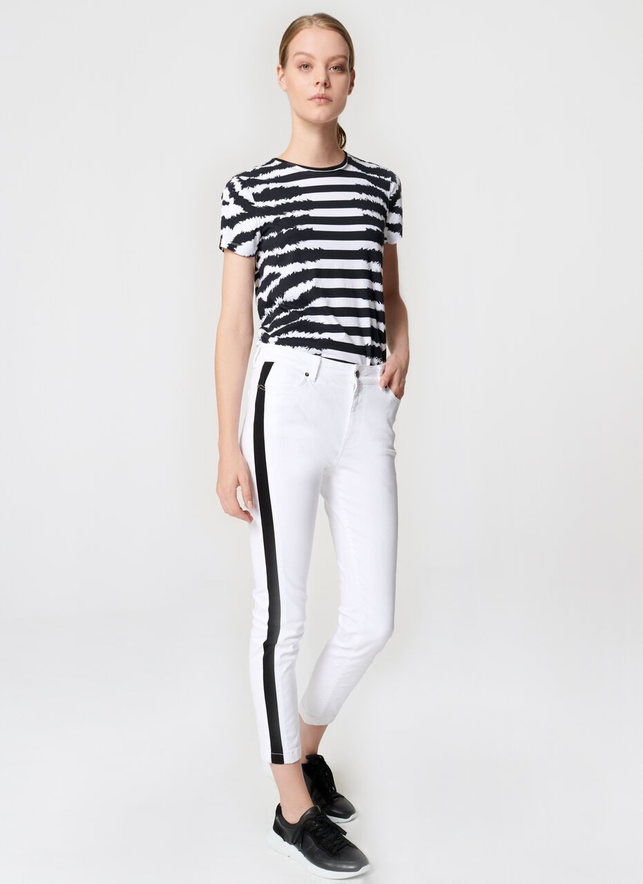 ESCADA Black Striped Jegging Denim