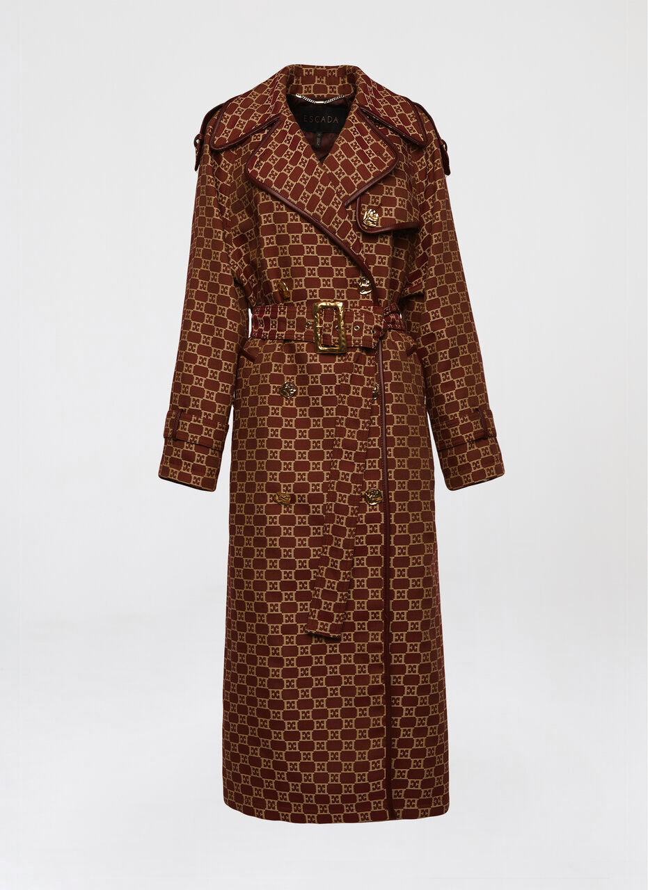 Statement logo jacquard trench coat - ESCADA