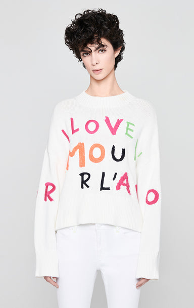 Cotton Intarsia Logo Sweater - ESCADA