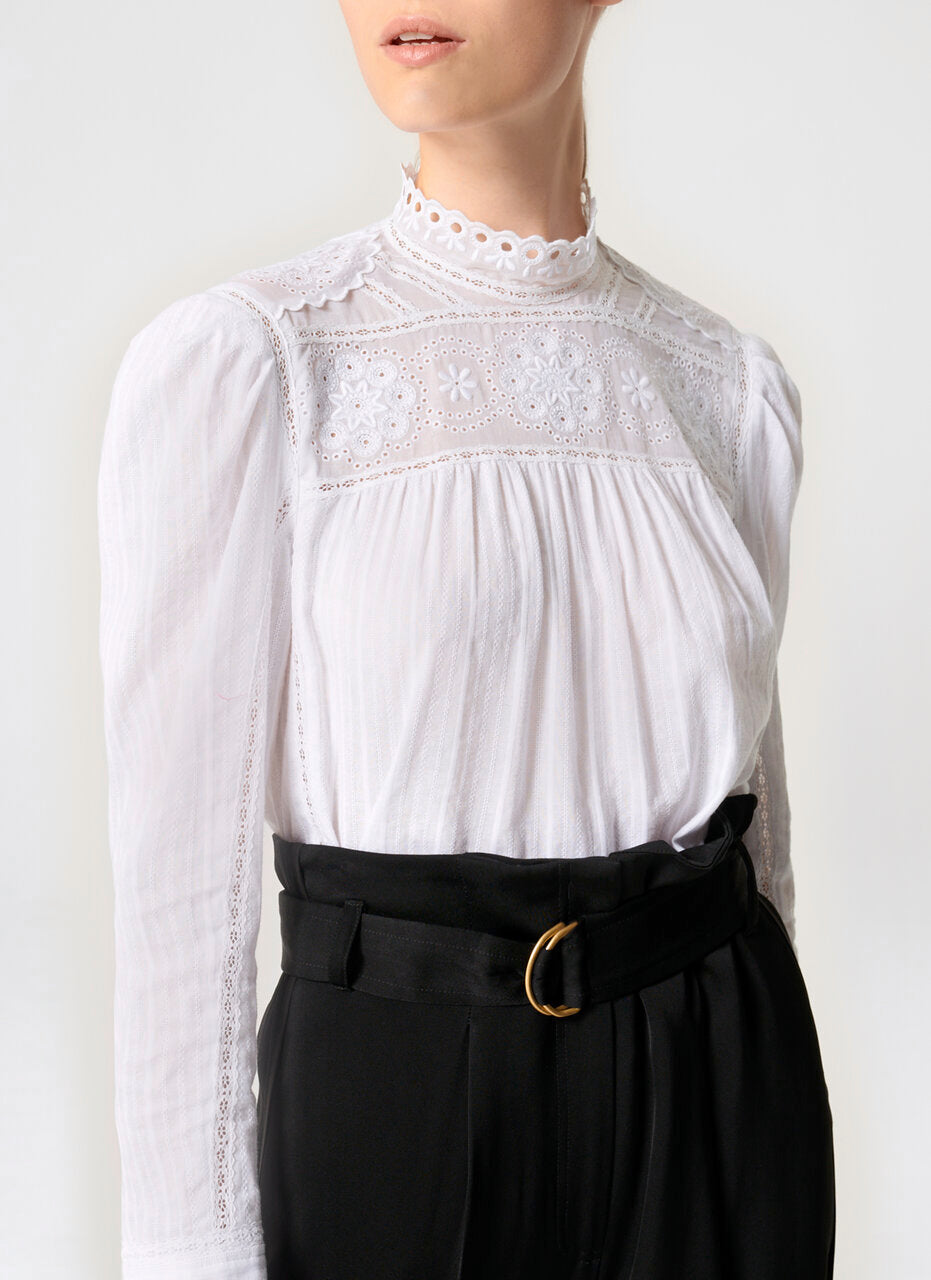 ESCADA Cotton Broderie Blouse