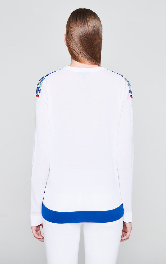 Cotton Blend Printed Sweater - ESCADA