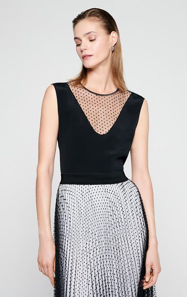 ESCADA Silk Blend and Tulle Sleeveless Top