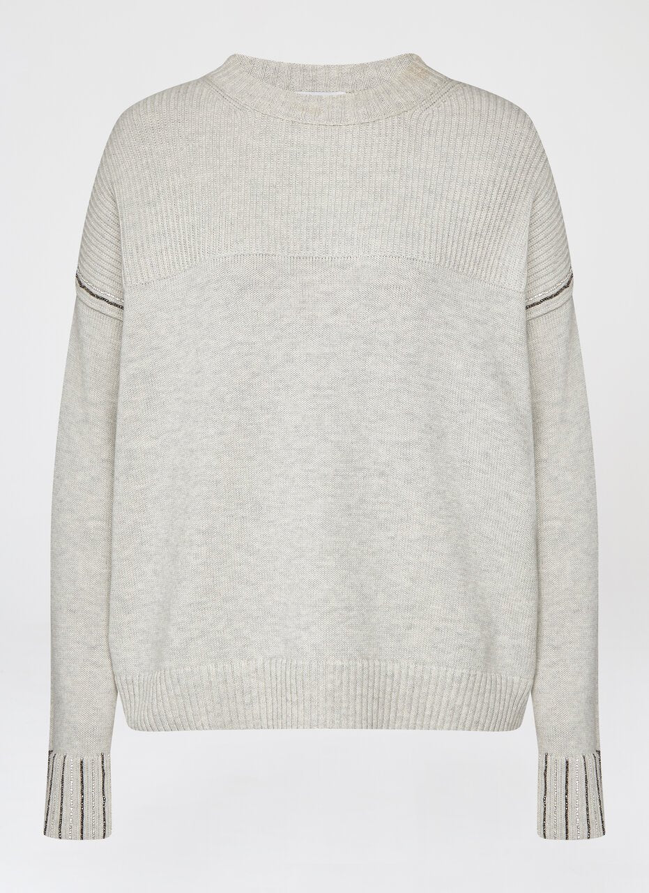Crystal Chain Cotton Cashmere Sweater - ESCADA