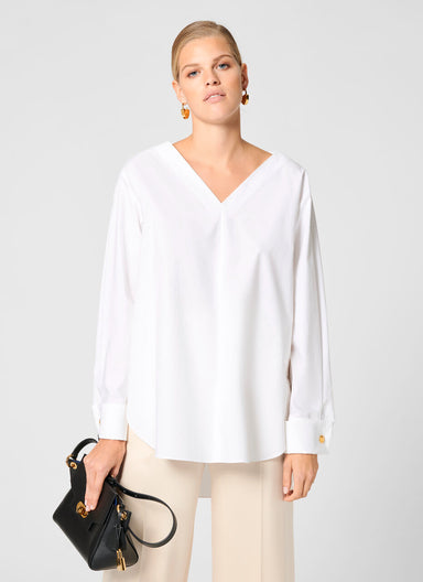 Cotton Poplin Tunic Blouse - ESCADA