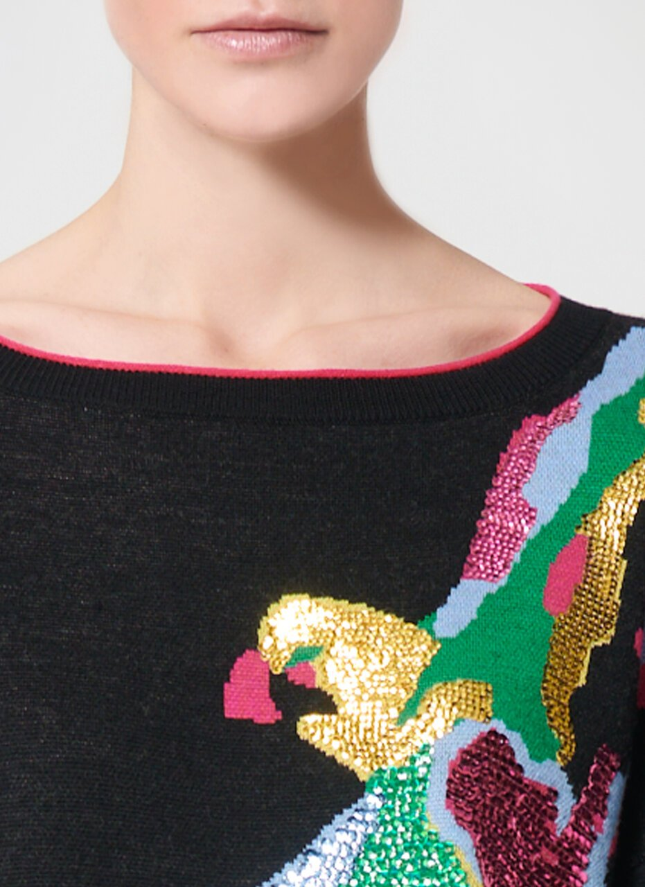 ESCADA Virgin Wool Bird Intarsia Sweater