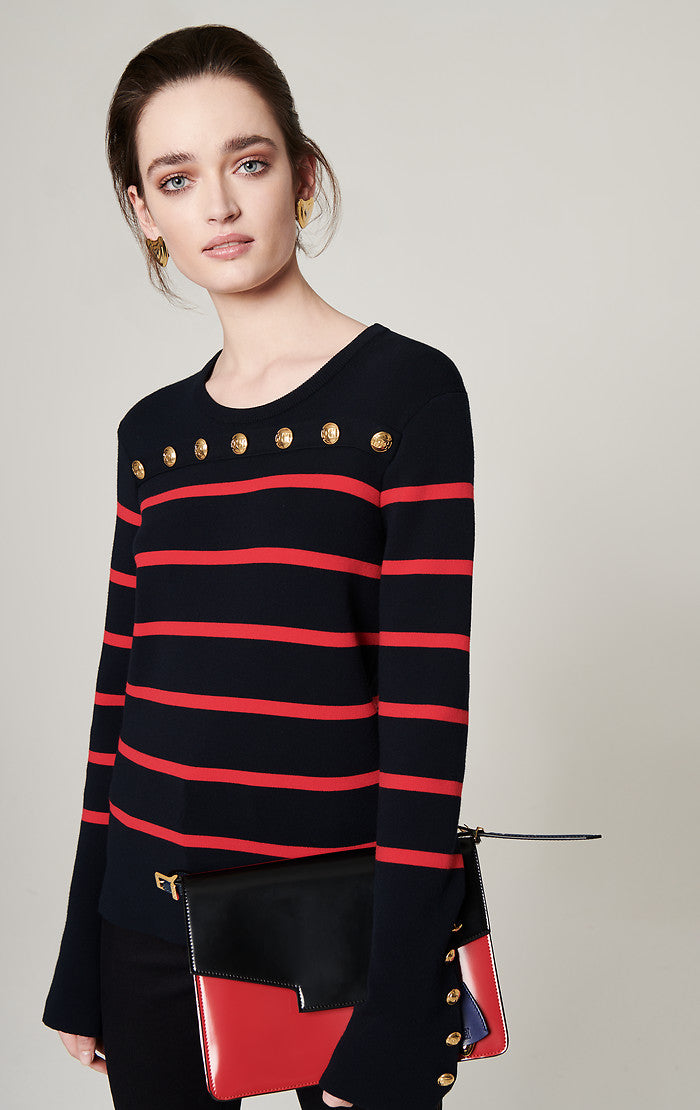 Button-Detail Stripe Sweater - ESCADA