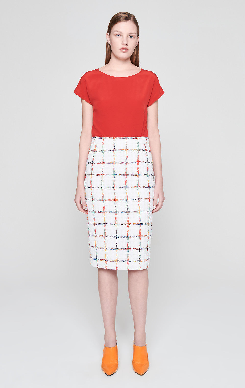 Cotton Check Tweed Skirt - ESCADA