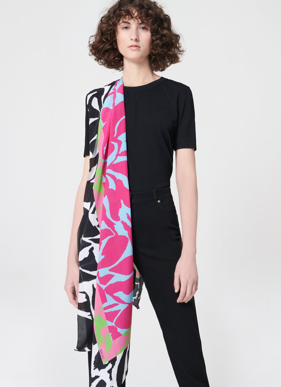 Printed silk flower scarf - ESCADA
