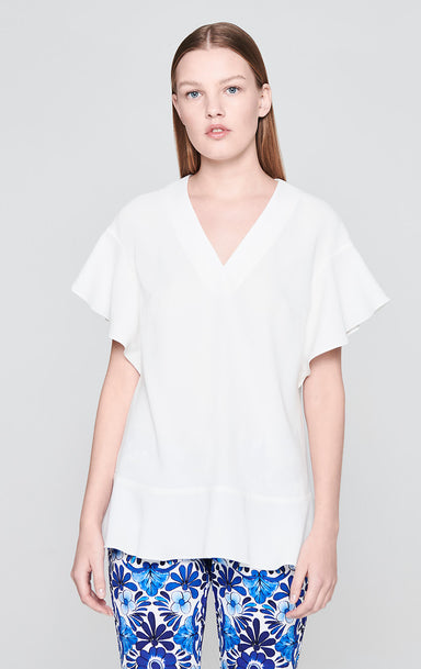 Satin Crepe Ruffle Top - ESCADA