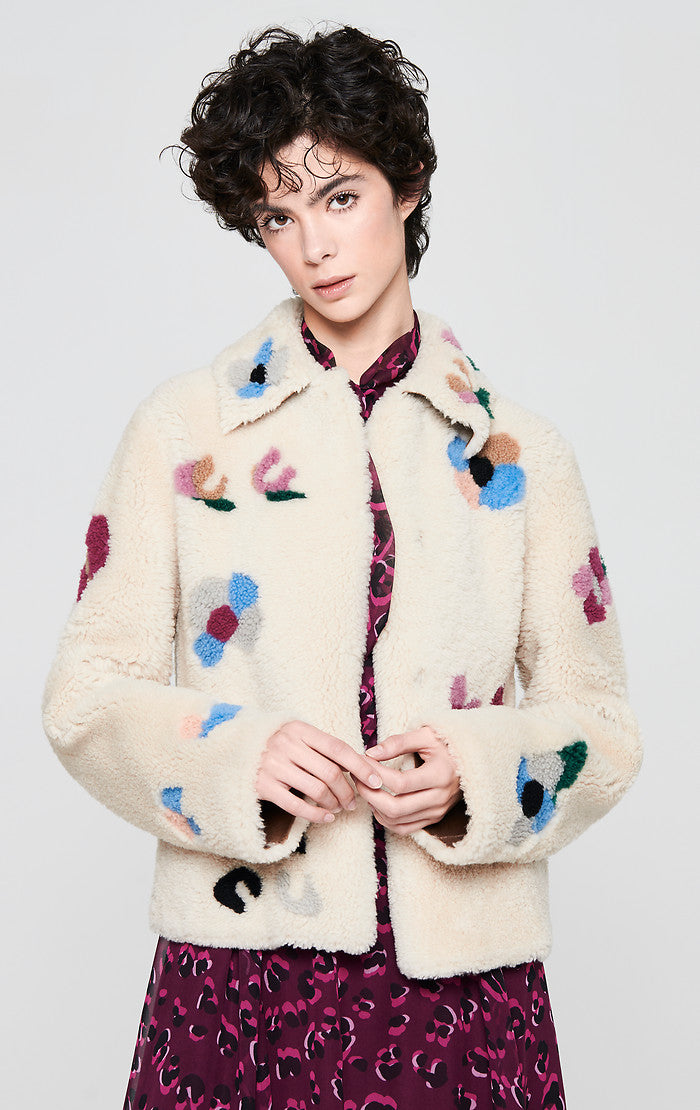 Floral Shearling Leather Jacket - ESCADA