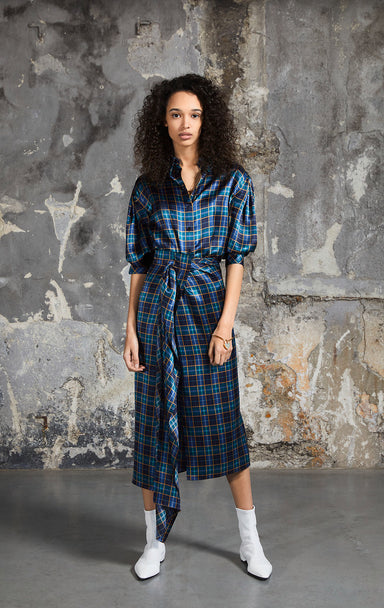 Silk Satin Check Dress - ESCADA
