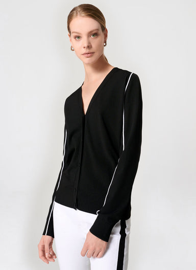 Stripe Detail V-Neck Cardigan - ESCADA