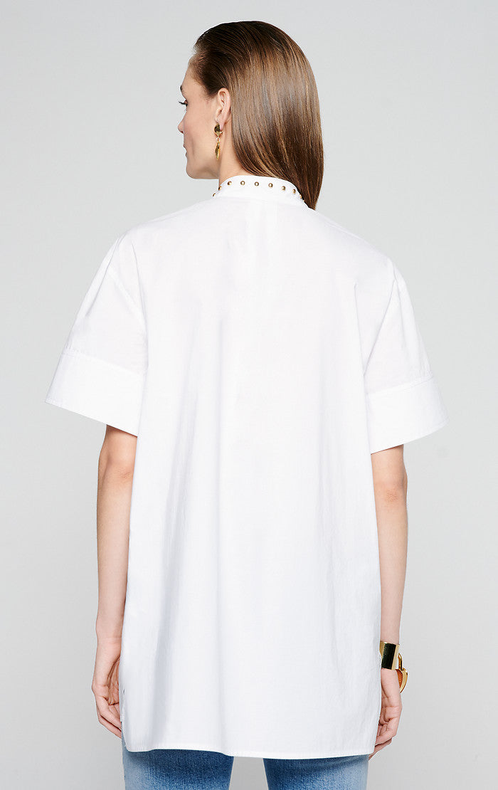 Cotton Poplin Short-Sleeve Shirt - ESCADA