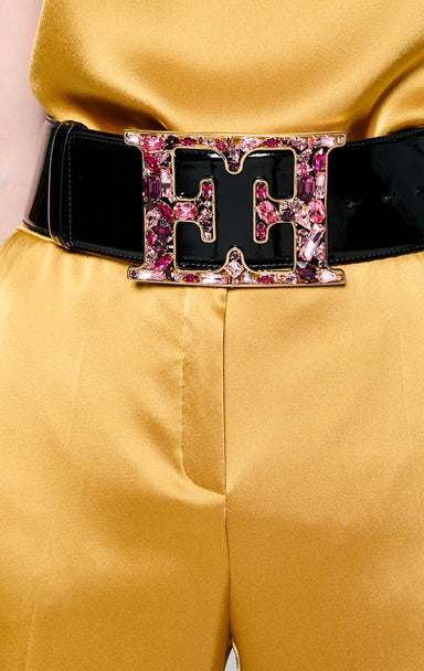 ESCADA Leather Crystal Monogram Belt