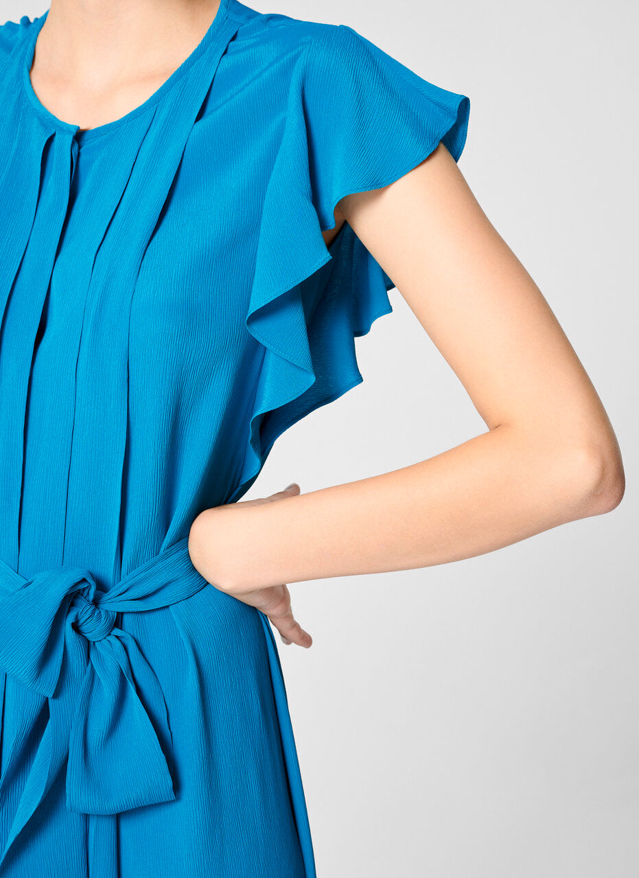 Silk Blend Pleated Ruffle Dress - ESCADA