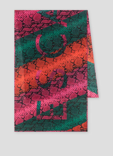 Multicolor Python Printed Cotton Scarf - ESCADA