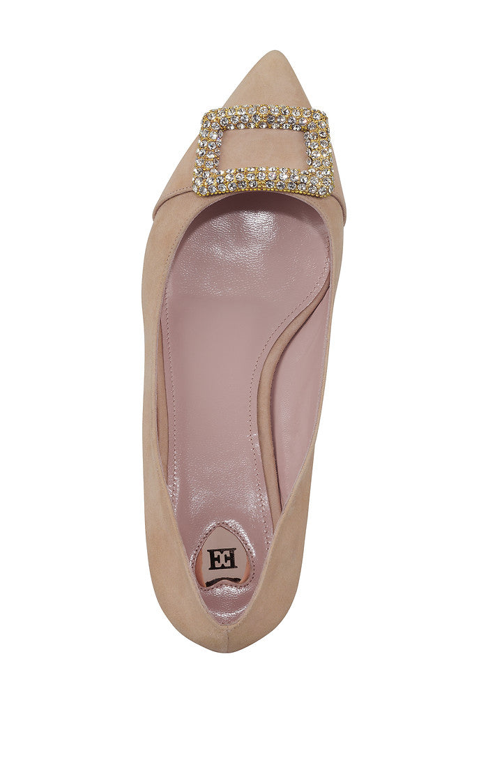 ESCADA Suede Embellished Flat Pumps