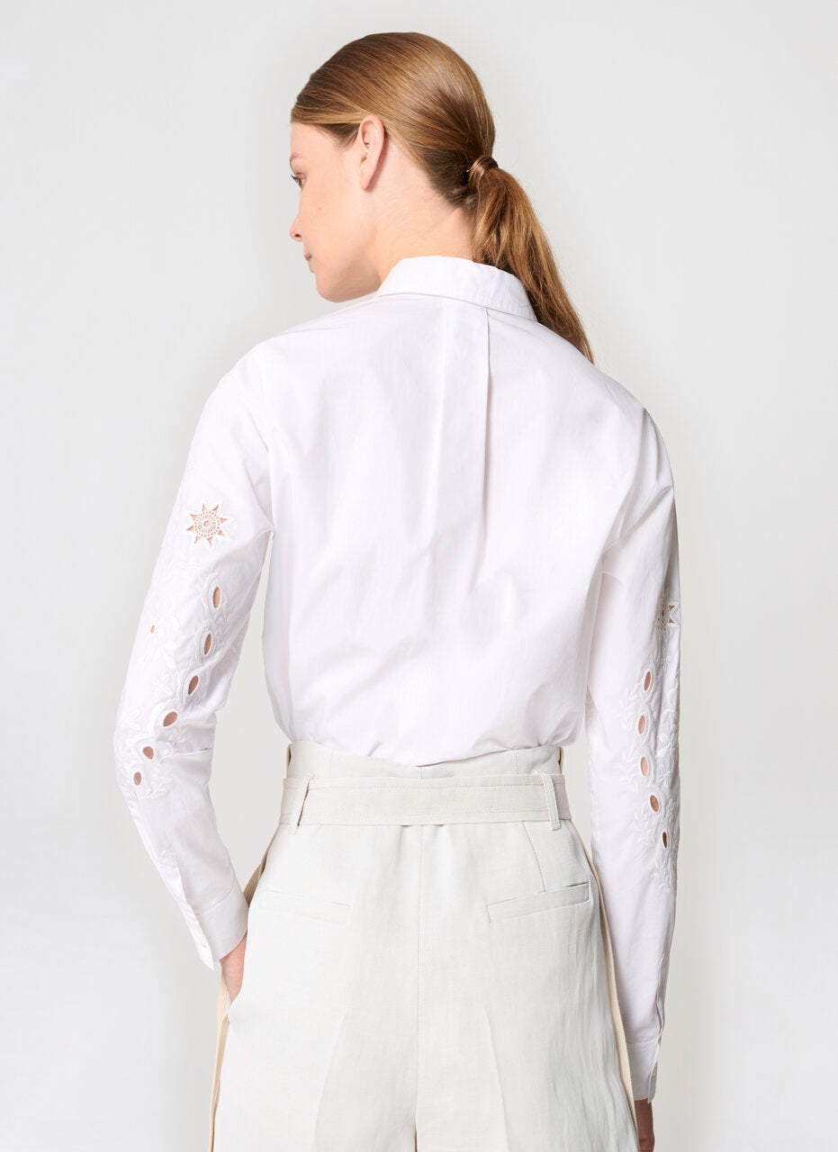 Cotton Poplin Broderie Shirt - ESCADA