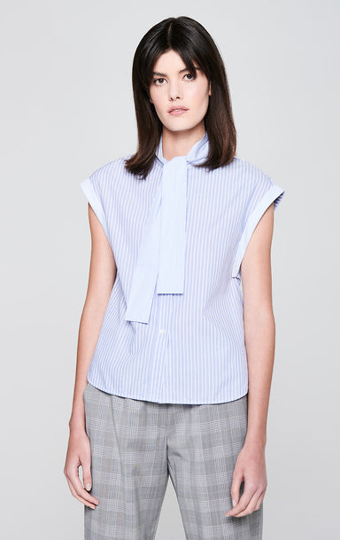 Cotton Stripe Tie-Neck Shirt - ESCADA