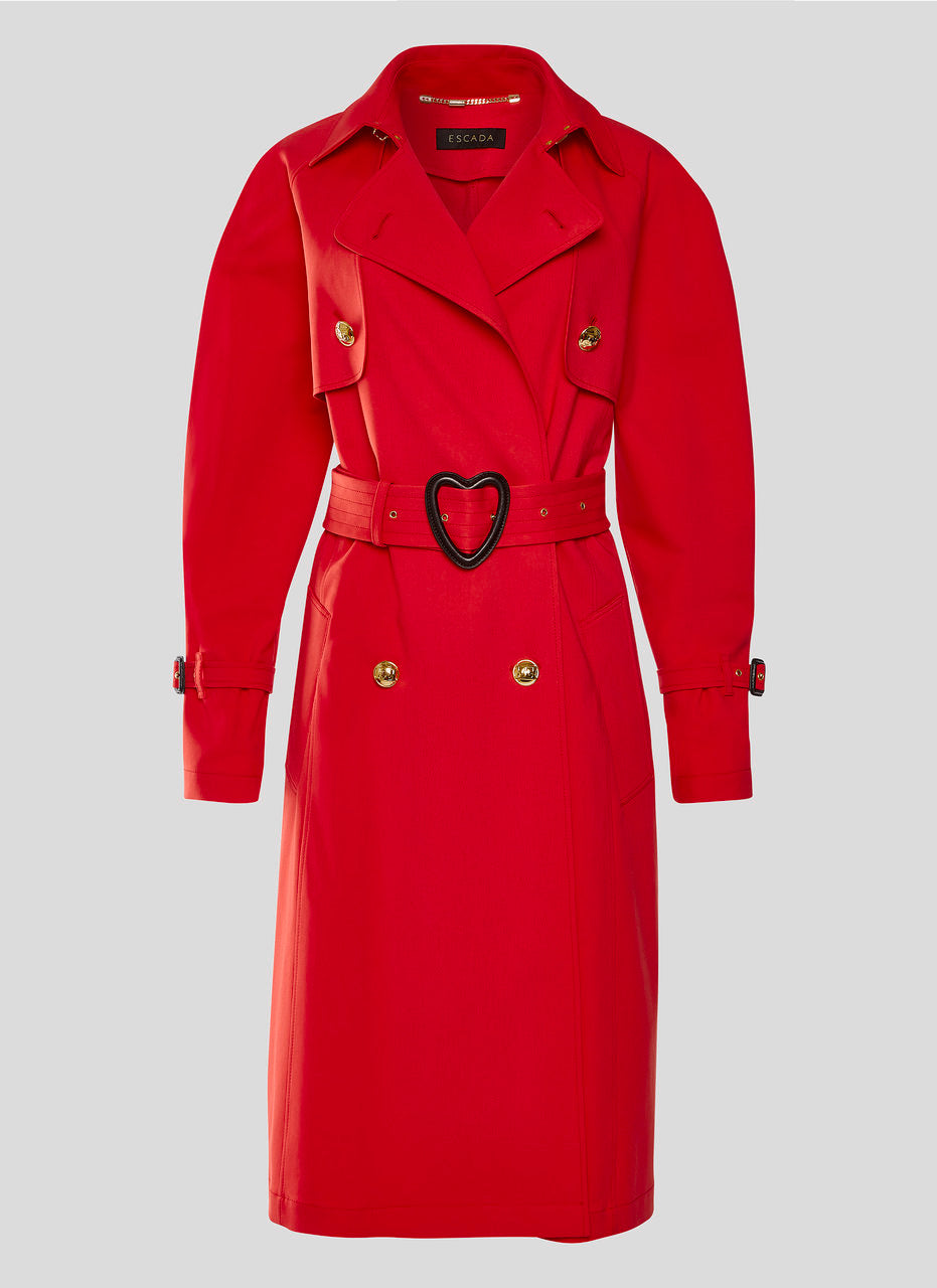 Cotton Blend Trench Coat - ESCADA