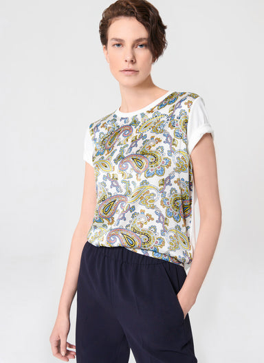 ESCADA Cotton and Silk Paisley T-shirt