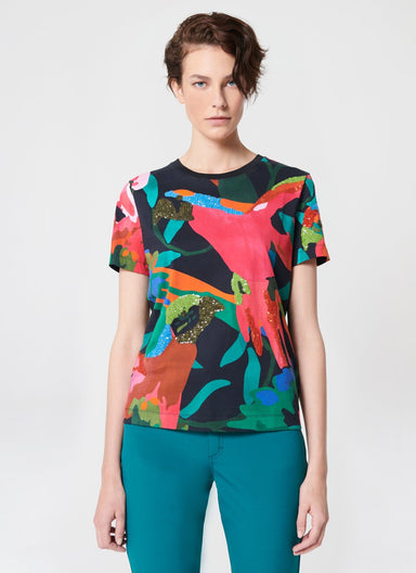 Multicolor Bird Printed T-Shirt - ESCADA