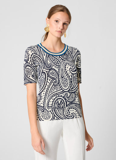 Paisley Print Short-Sleeve Sweater - ESCADA