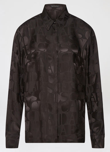 Logo jacquard silk mix blouse - ESCADA