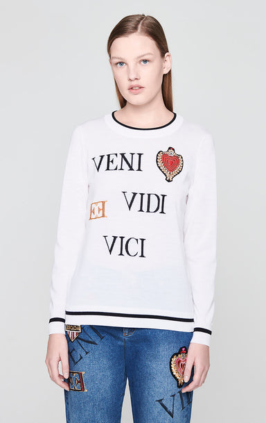 Virgin Wool Heart Badge Sweater - ESCADA