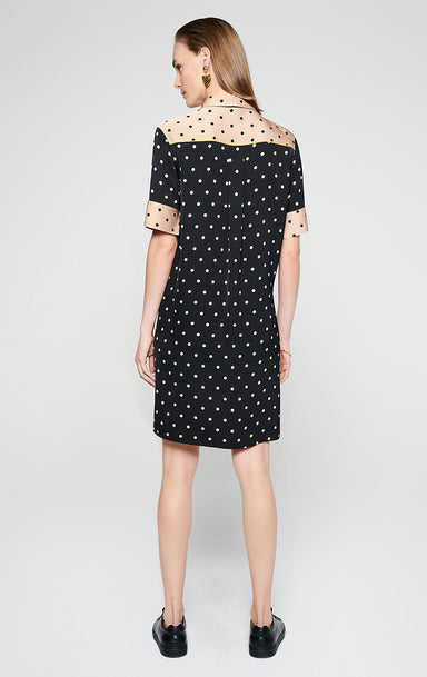 ESCADA Crepe Polka Dot Shirt Dress