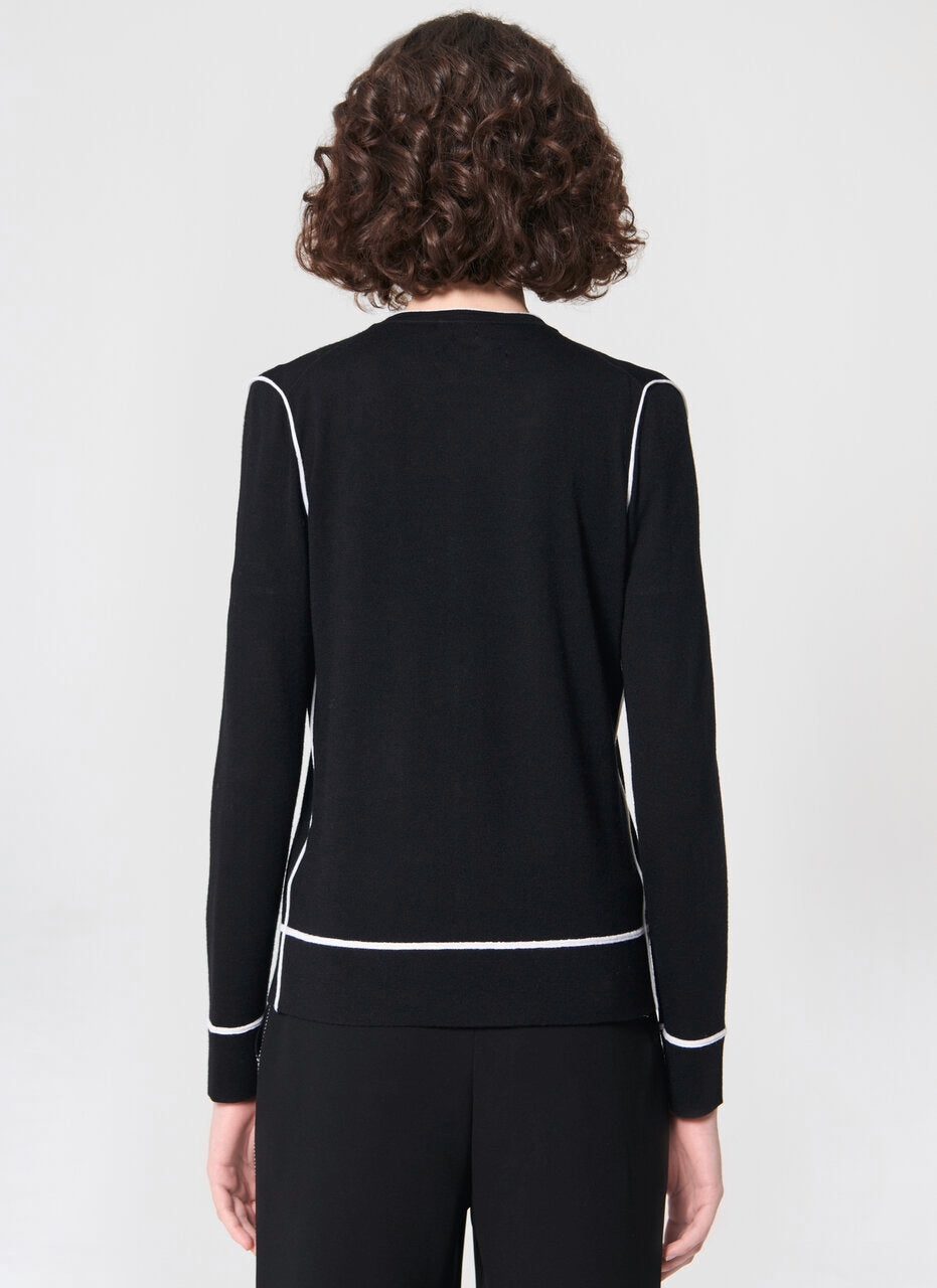 Wool cardigan with contrast pipings - ESCADA