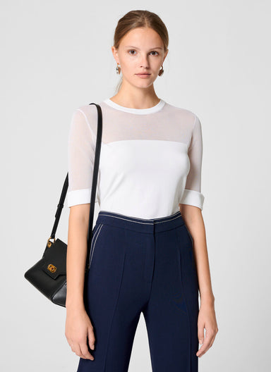 Material Mix Short-Sleeve Sweater - ESCADA