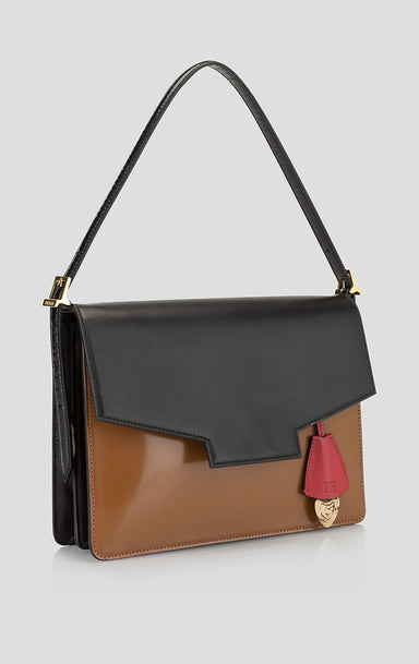 Color Block Leather Envelope Handbag
